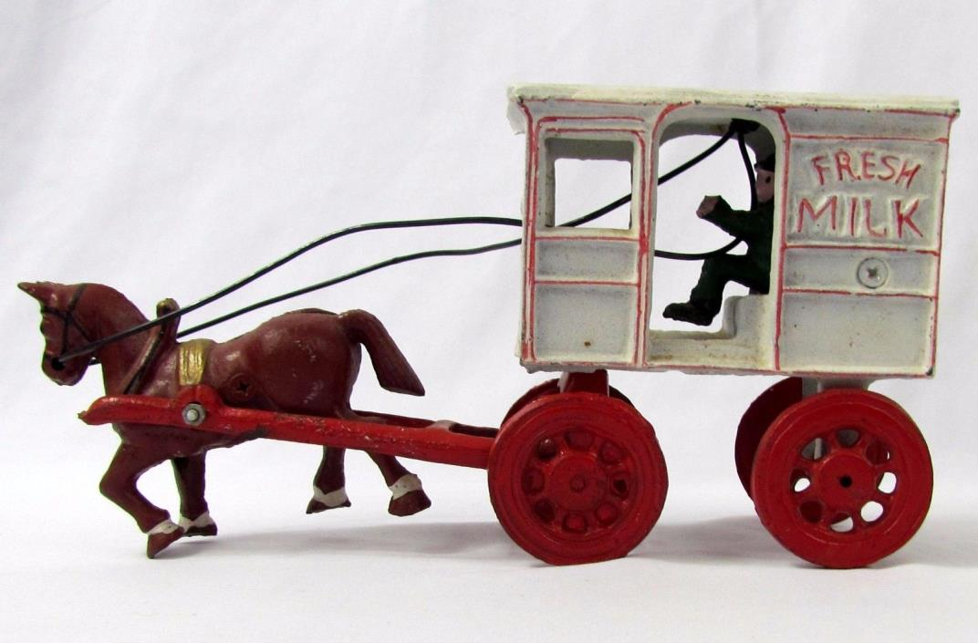 Vtg Original Kenton Cast Iron Horse Drawn Wagon Fresh Milk Carriage with Driver