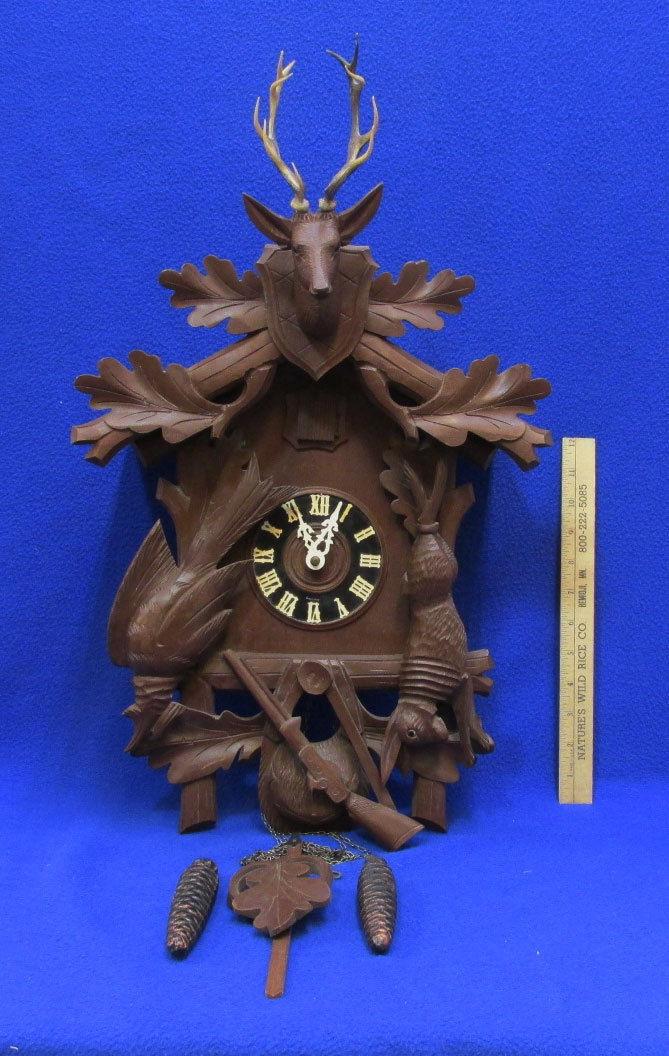 Vintage German Cuckoo Clock Mfg Co Hunter Style Deer Antlers Carved Wood Germany