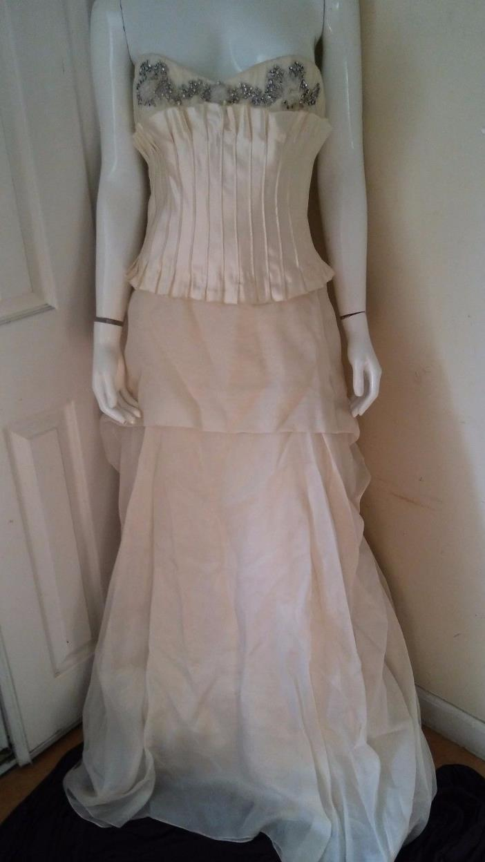 JENNY LEE COUTURE BRIDAL Off White STRAPLESS Wedding Gown Sz 6
