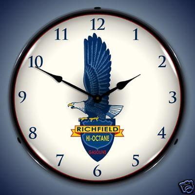Richfield Eagle Hi-Octane Gas & Oil Pump Backlit Clock