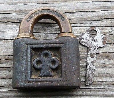 Antique Bronze & Cast Iron Yale & Towne Push Padlock & Original  Key  Yale Lock