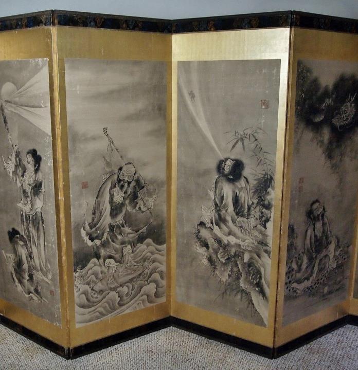 MAGNIFICENT JAPANESE FOLDING SCREEN SOGA SHOHAKU Edo Antique 12 Foot Long Byobu