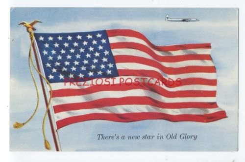 PAN AM AMERICAN & 1959 49-Star ALASKA Added US FLAG Airline Issued Ad Postcard