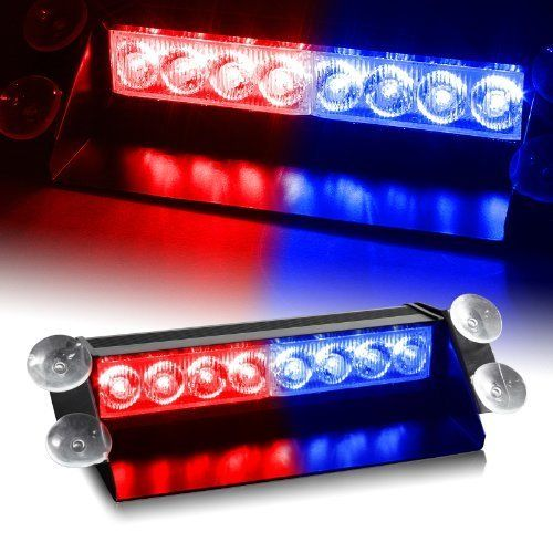 Car Truck Emergency LED Lights Red Blue Police Strobe Flash Light 8 LEDS