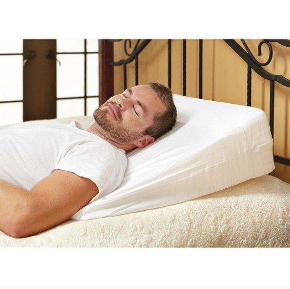 Memory Foam Wedge Back Neck Support Reflux Comfort Sleep Cover Pillow Cushion