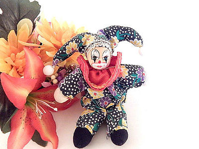 Clown Doll Miniature Jester 6 Inch Toy Circus Clown Collectible Home Decor Gift