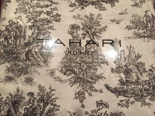 Tahari 100% Cotton 300TC Queen Sheet Set Toile Black & White NEW