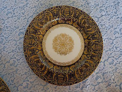 ROYAL DOULTON England - Ra3464 - ONE - c.1902 Blue & Encrusted Gold DINNER PLATE