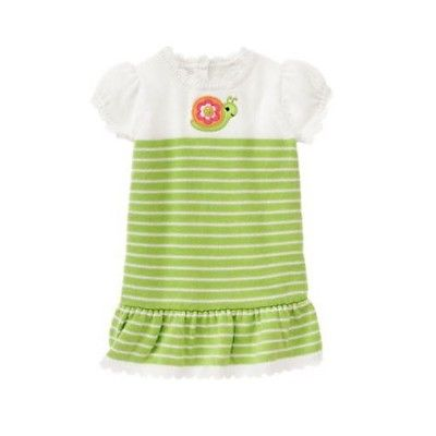 Gymboree NWT Growing Flowers 5t baby girl green striped sweater snail dress