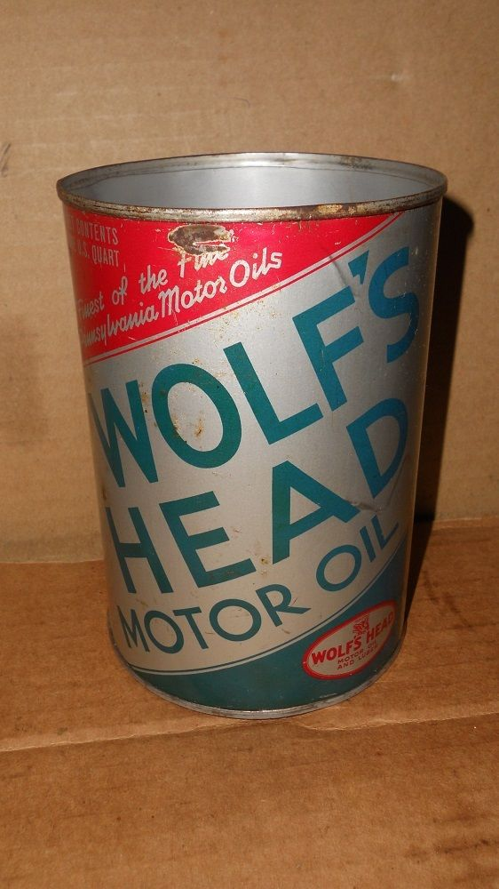 Vintage Wolfs Head Oil Quart Oil Can  Nice Can