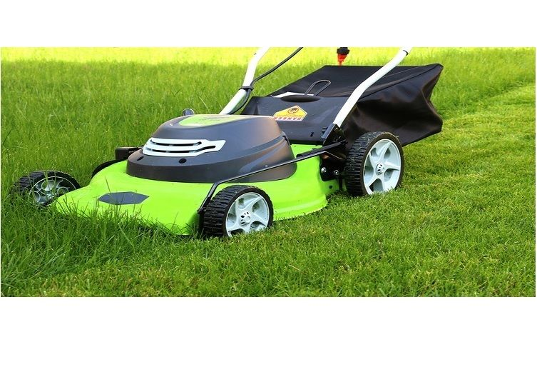Lawn Mower Electric Walk Behind 20 Inch Grass Catch Bag Adjustable Height 12 Amp