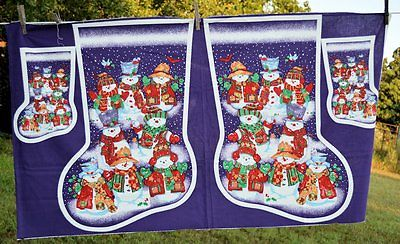 purple snowman stocking Fabric Panel for making  free US Shipping