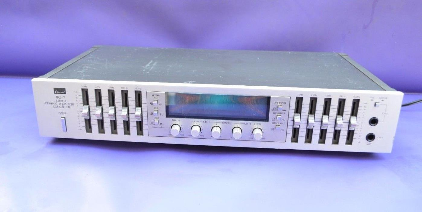 Vintage Sansui RG-7 Stereo Graphic Equalizer With Reverb 1970's Era Equipment