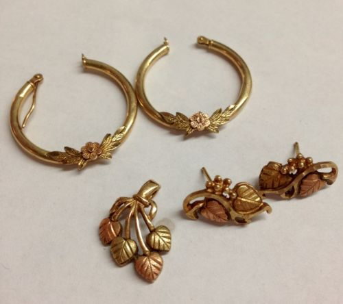 4.6 Grams 10k BLACK HILLS GOLD Pendant Earring Set & Earrings Scrap Or Wear