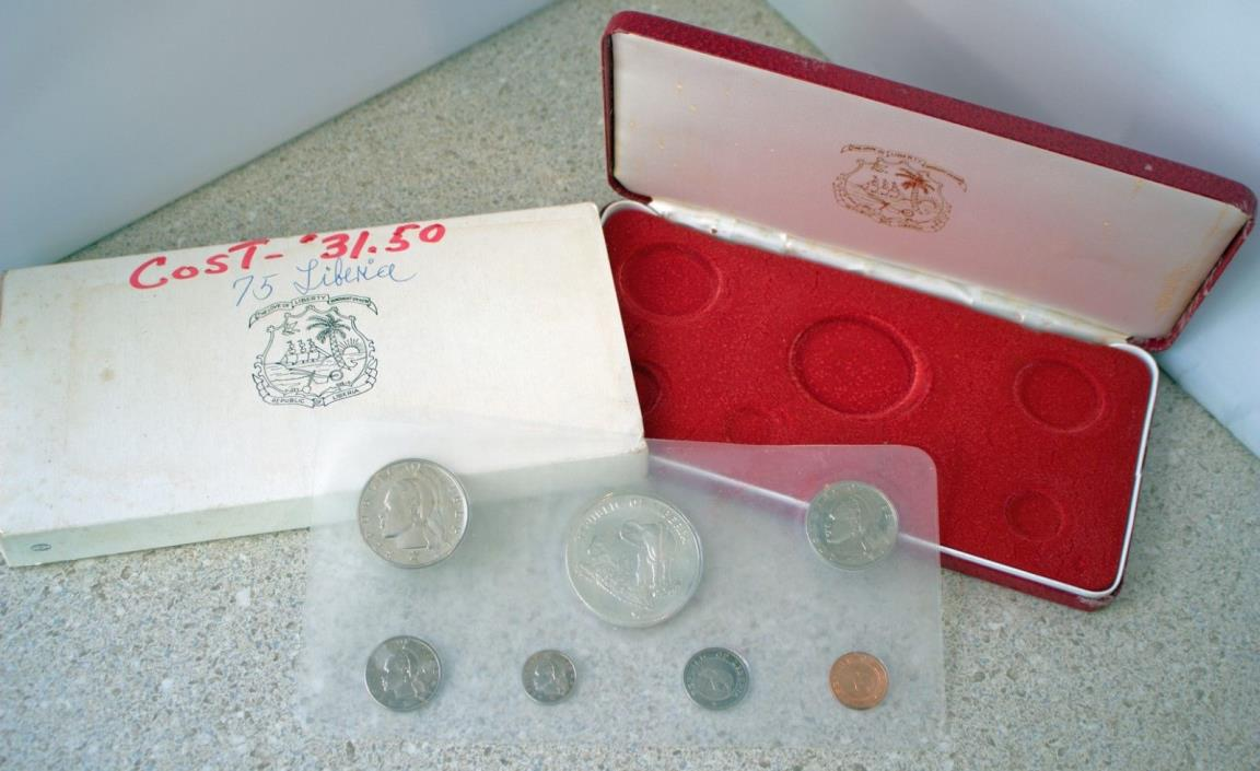1975 7 Coin Lot Republic of Liberia Proof Set Elephant