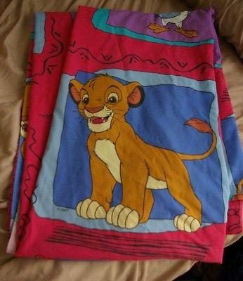 The Lion King Twin Size Bed Sheet Flat Vintage Fabric Walt Disney Nala Simba