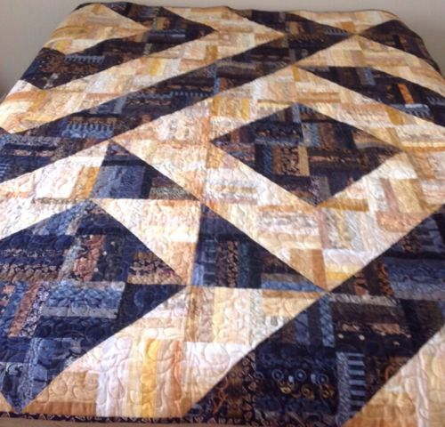ABSTRACT HAND SEWN, MACHINE QUILTED QUILT, YELLOW, GOLD, BLACK, ROCKIN RAIL