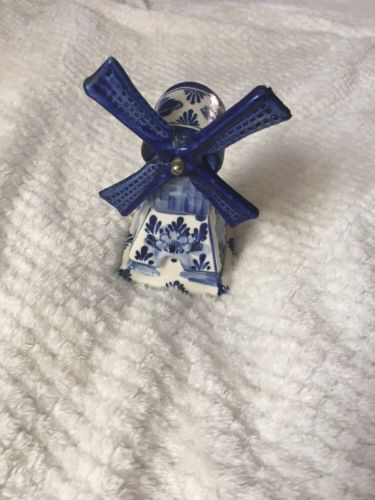 Holland Wind Mill Blue Delft's Handpainted