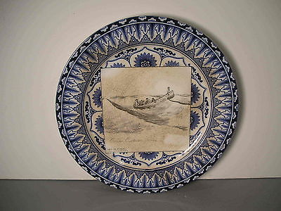 Royal Doulton Gibson Girl Plate Dish They Go Fishing Vintage Old Antique 10 1/2