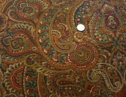 5 YD JOSEPH ABBOUD COUTURE UPHOLSTERY FABRIC KRAVET PAISLEY NAVY BERRY GOLD 56