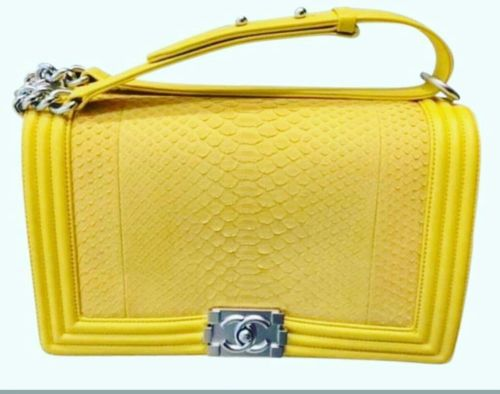 Chanel Boy /Python Yellow/ New Medium Boy Bag/LIMITED EDITION /soldout everywher