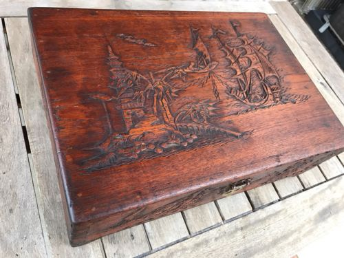 ANTIQUE ORIENTAL HAND CARVED WOOD Ancient CHINESE TRUNK ASIAN BOX TRINKET CHEST