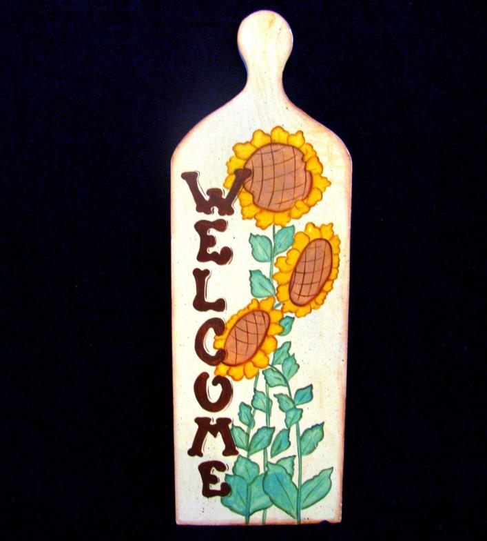 Vintage Sunflower Wall Decor Welcome Decorative Breadboard Handpainted Paddle