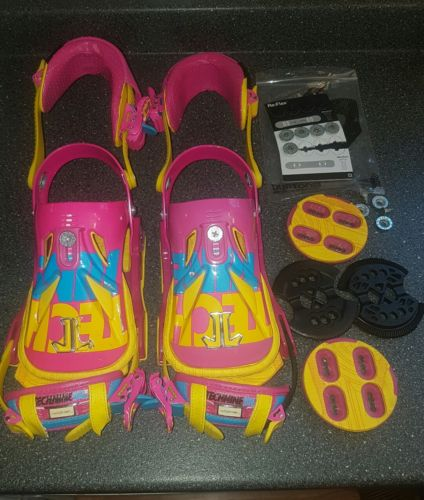 technine snowboard bindings mass appeal series pink yellow