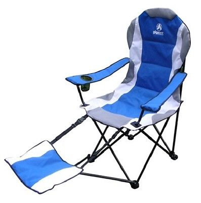 Camping Chair With Footrest BLUE Lightweight Cup holder Waterproof Storage Bag