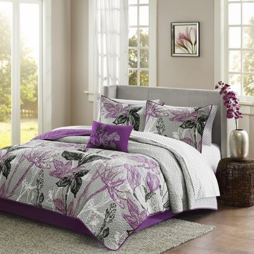 Modern Purple & Grey Floral Reversible Coverlet Quilt Set AND Matching Sheet Set