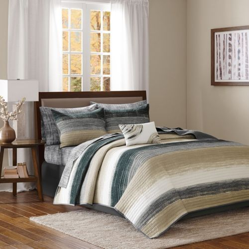 Modern Taupe Grey & Black Coverlet Quilt Set AND Matching Sheet Set