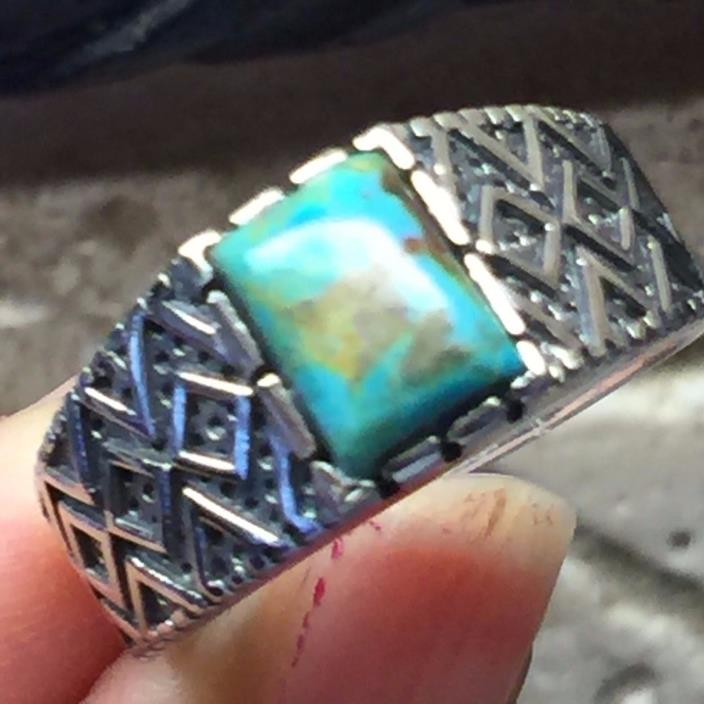 Art Deco Natural Green Mohave Turquoise 925 Solid Sterling Silver Men's Ring 9