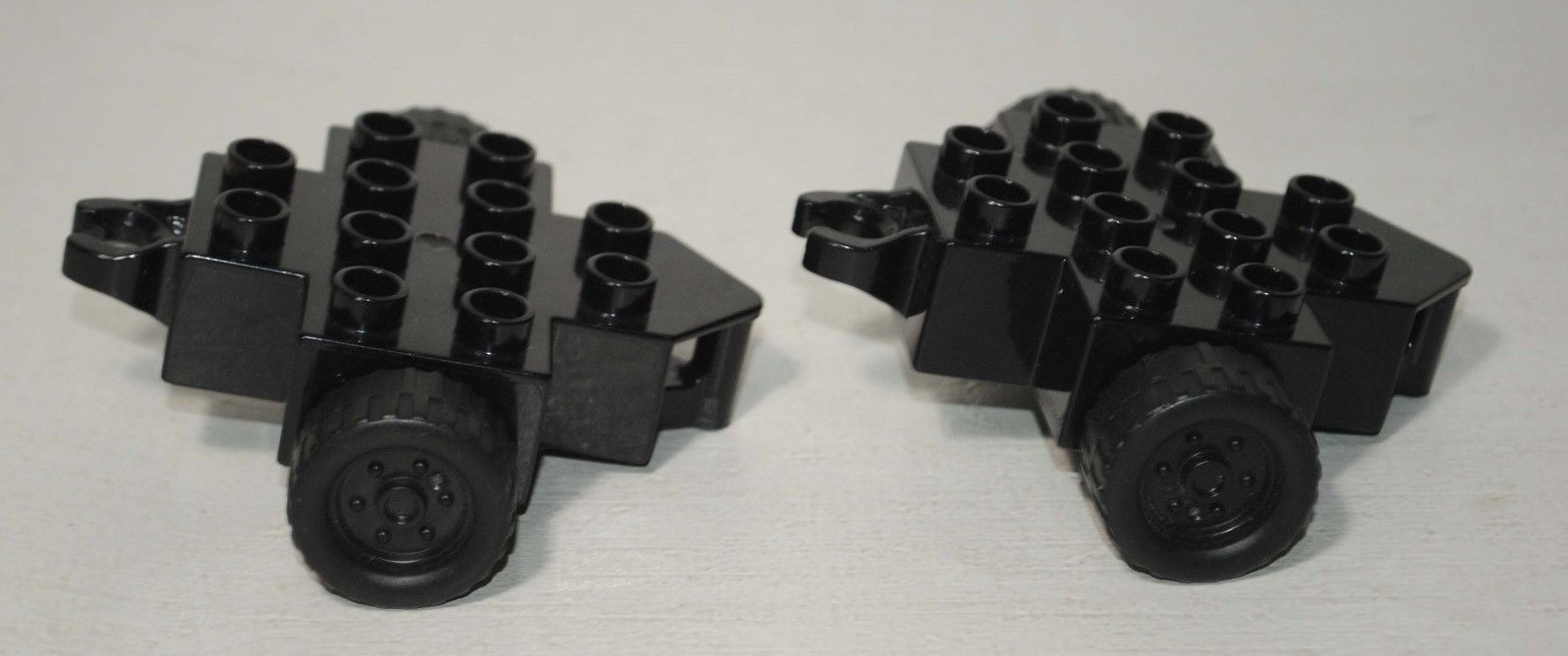 Lego DUPLO Lot of 2 Black Trailer Bases with Two Wheels and Hitch Ends