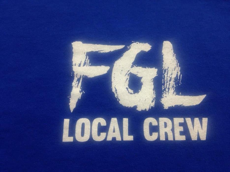 AUTHENTIC FGL ~  Local Crew Backstage working Tour Shirt XL Blue