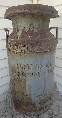 Vintage Estate Fresh Bordens Milk Can 60 Bridgeport Conn Stratford w/Cover RARE