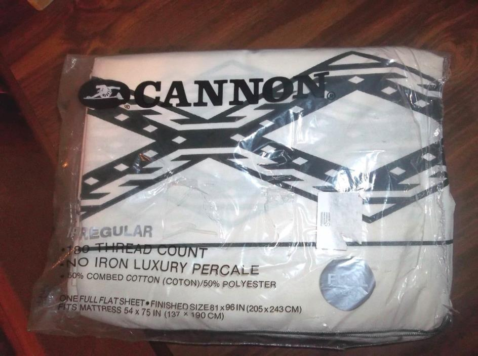 NEW VINTAGE Cannon FULL FLAT SHEET. White w/ Black