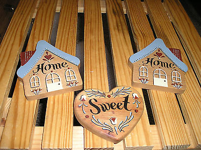 Home Sweet Home Wall Hangings. Wooden Country Style. 3 pc. Gently Used. cute