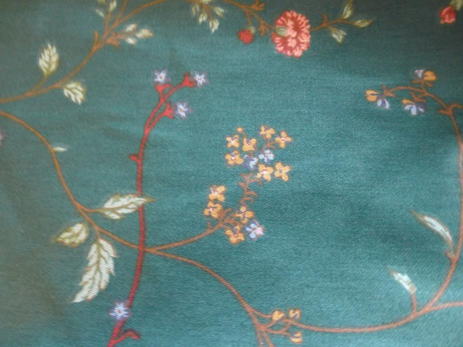 Waverly  Material Fabric 13 Yards  Sewing Crafts Green With Flowers New
