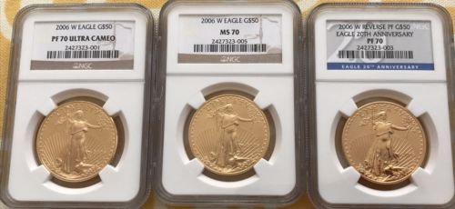 2006-W Gold Eagle MS70, PF70, PF70UCAM Set of 3 coins NGC
