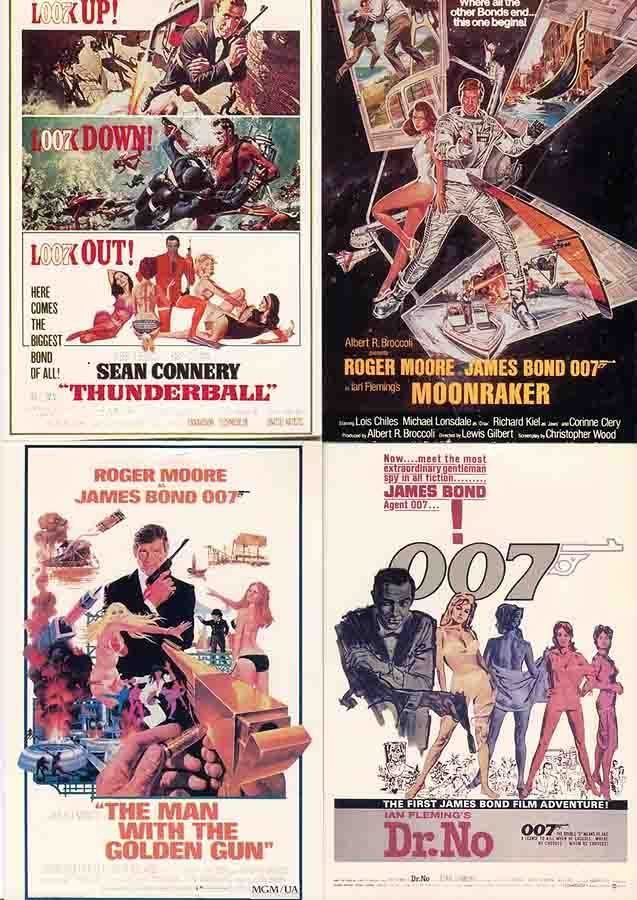 James Bond 007 Movie poster Postcard lot of 4 different