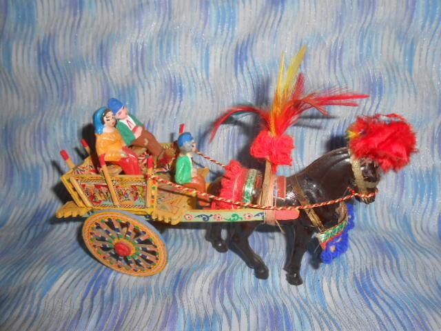 Mediterranean Wooden Decorative Wagon With Clay Figures
