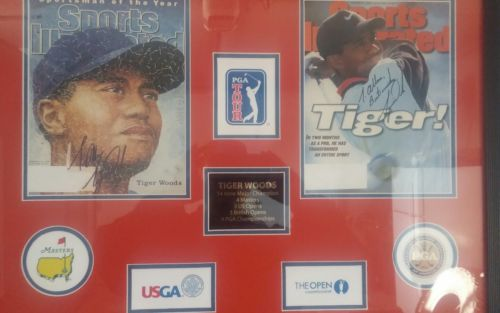 RARE SIGNED TIGER WOODS DOUBLE AUTO 1996 ROOKIE SPORTS ILLUSTRATED GOLF COLLAGE