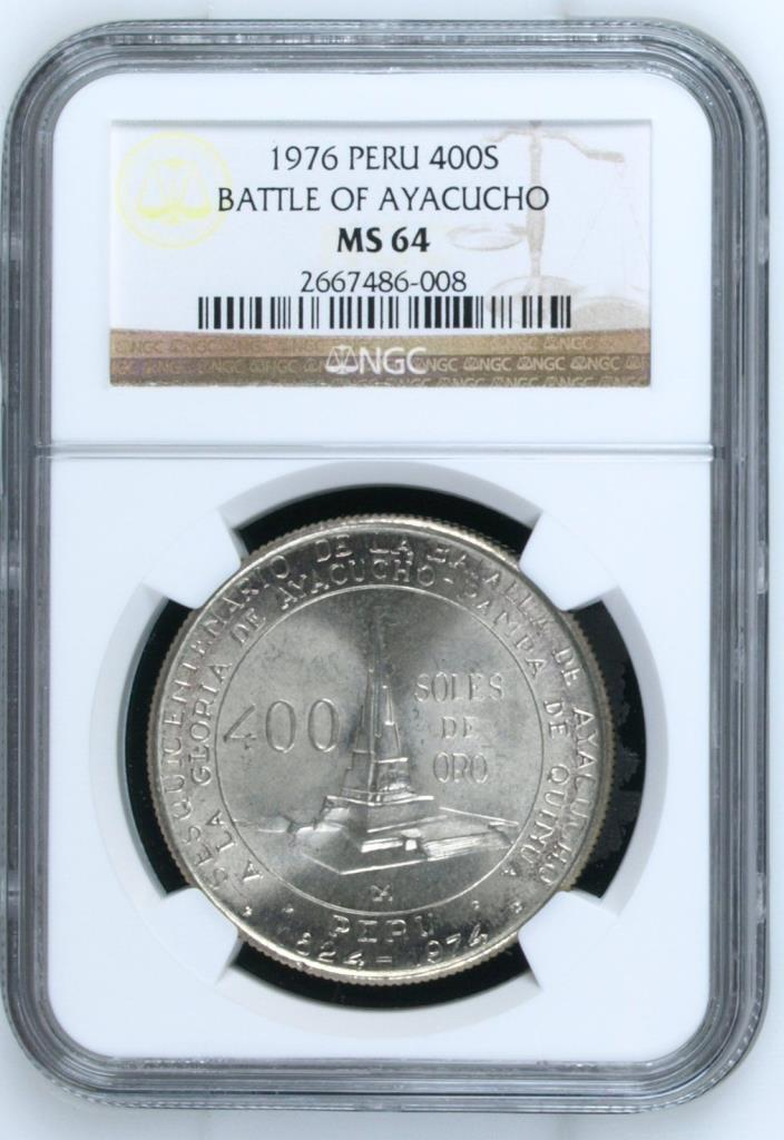 1976 Peru 400 Soles de Oro Silver Coin NGC MS64 Battle of Ayacucho Uncirculated