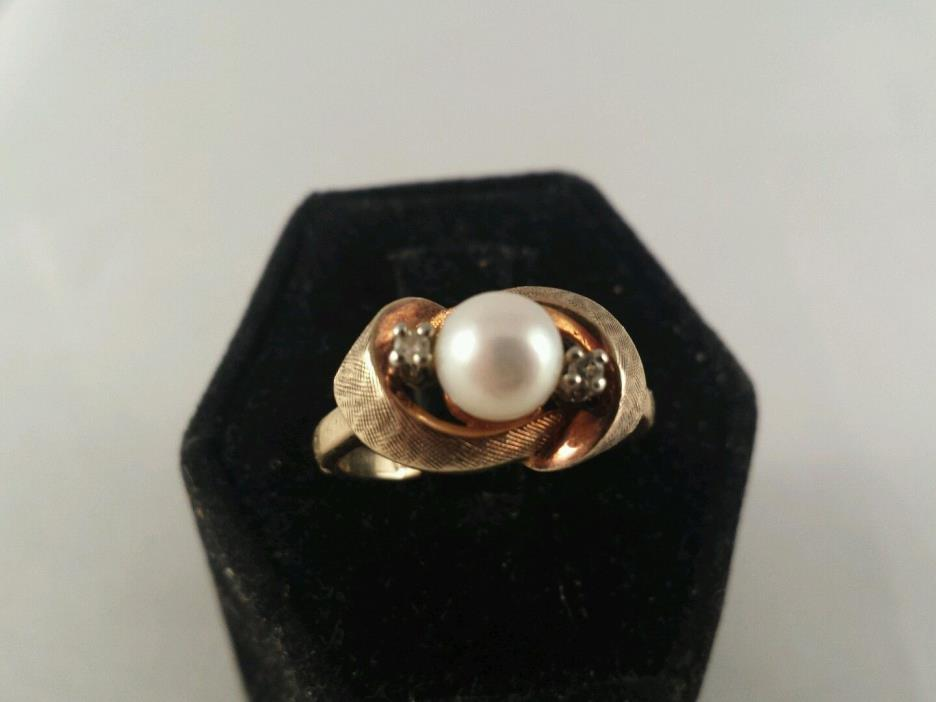 14K ROSE GOLD PEARL AND DIAMONDS RING SIZE 7