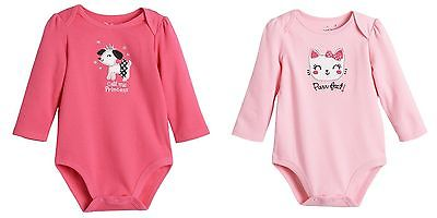 Jumping Beans Baby Girl 2 Long Sleeve Bodysuits Princess Puppy Purr-fect - 18 mo