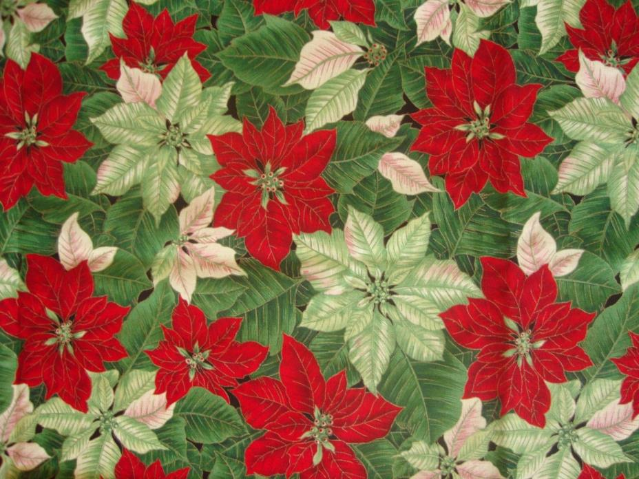 Poinsettia Cotton Christmas Fabric VIP Cranston Quilt Backing 59
