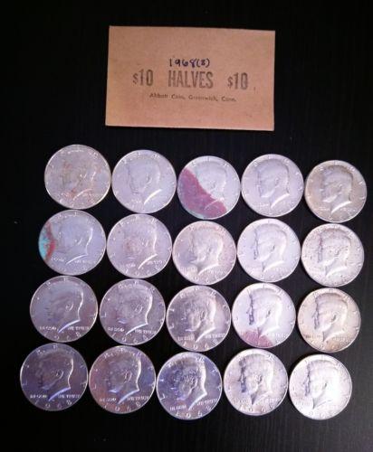 uncirculated roll of 1968 kennedy half dollars