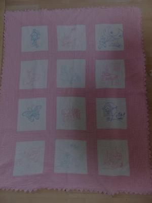 HAND SEWN BABY QUILT..EMBROIDERED
