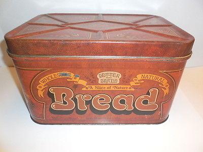 Tin Bread Box - 1970's Wheat Heart Brown Tin Bread Box - Very Nice!