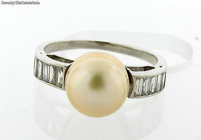 Art Deco Platinum Pearl Baguette Diamond Ring